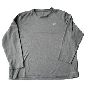 Champion Duo Dry Mens Gray Athletic Long Sleeve